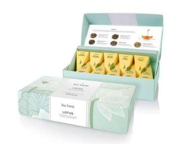 Coffret thé bio Teaforté 10 pyramides Lotus box