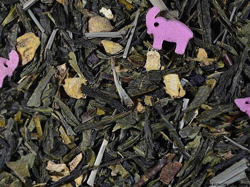 Thé vert aromatisé Bollywood (Gingembre, Citron Vert, Eléphants Roses)