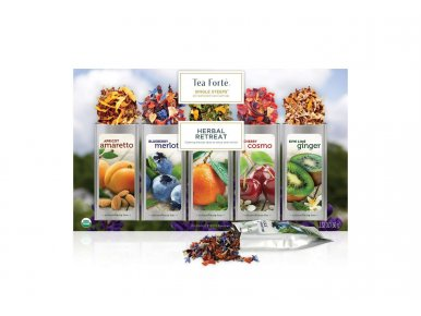 Tea Forté - Coffret de Thé Single Steeps Herbal Retreat - contient 15 Pyramides
