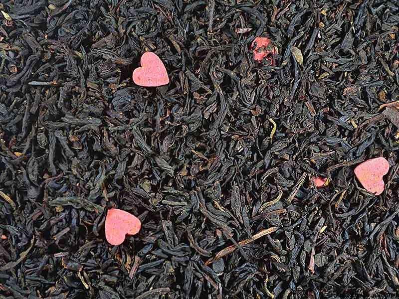 Thé noir aromatisé L'Hymne à l'Amour (Fruits Rouges Litchi Rose, Coeurs roses)